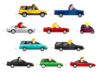 Cute cartoon Business man and women driving various cars