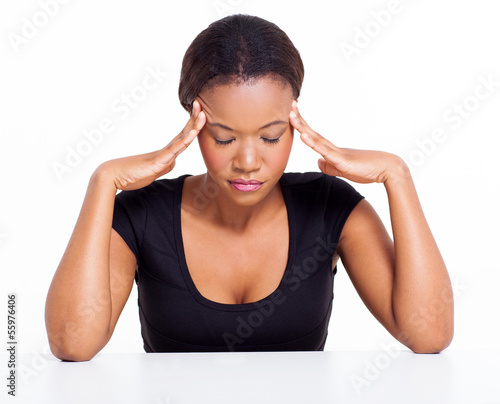 young black woman having headache