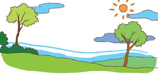 Child cartoon summer hill landscape background (vector)