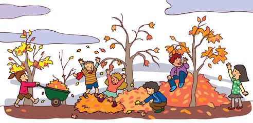 Children having a good time in autumn landscape (vector)