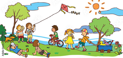 Children having a good time in summer landscape (vector)