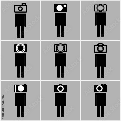 Camera head men set concept ideas