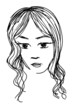 Black and white artistic vector girl's face sketch.