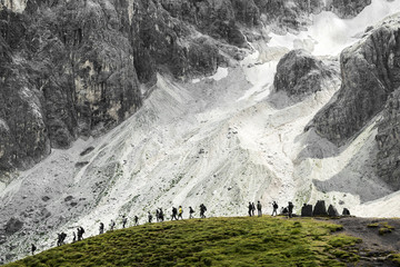 Group of hikers, Pale di San Martino - Dolomites
