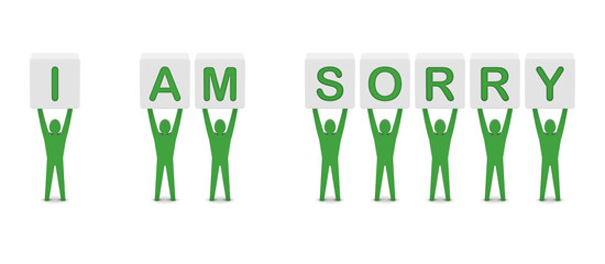Men holding the phrase i am sorry. Concept 3D illustration.