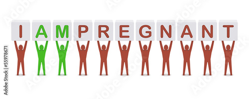 Men holding the phrase i am pregnant. Concept 3D illustration.
