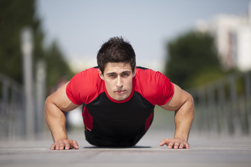 Athlete making some pushup