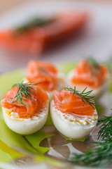 Boiled eggs with salted salmon