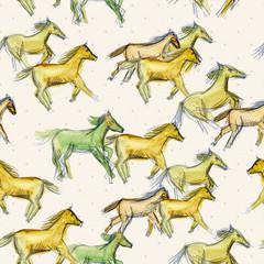 Seamless texture watercolor a horse