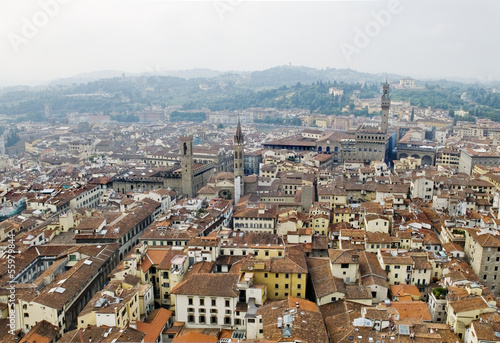 Florence panoramic view and The Palazzo Vecchio. Florence