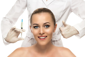 Cosmetic injection to the pretty Beautiful woman face
