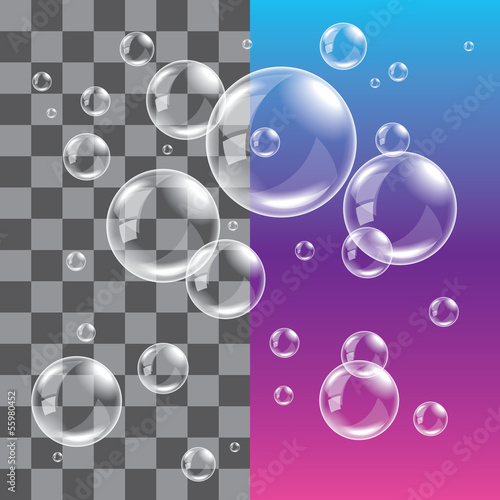 Transparent soap bubbles photo realistic vector