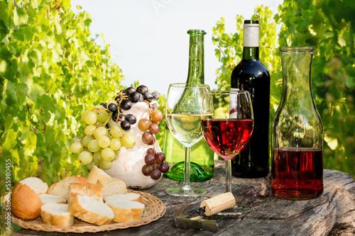 Leinwandbild Motiv - Visions-AD : Weinverkostung im Weinberg