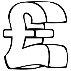 pound sterling symbol on white background