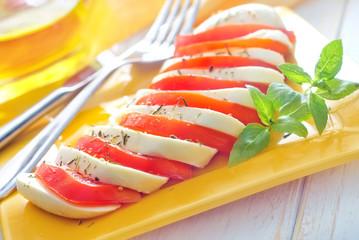caprese, fresh salad with tomato and mozzarella