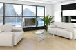 Modern sunny living room interior with nice panoramic view