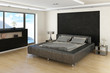 Modern Bedroom Interior with grey bed and sideboard