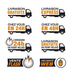 Icone livraison gratuite, livraison express, point relais, 24h
