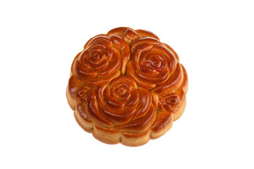 Isilated Moon Cake with Flowers