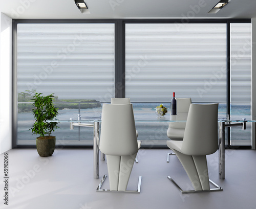 Modern luxury dining room with window with panoramic view