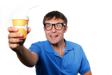 Man holding a paper cup with a straw on white background.