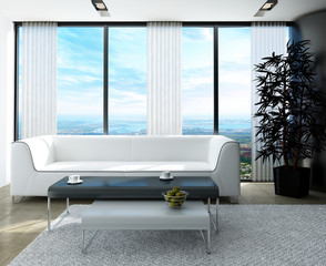 Modern white living room with huge windows and curtains