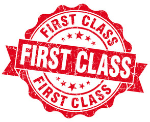 First Class Grunge red isolated seal