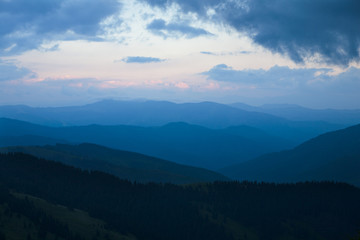 Sunset after the rain in the Carpathians
