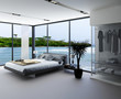 Ultramodern bedroom interior with grey bed with panorama window