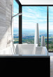 Modern bathtub in a bathroom interior with panoramic view