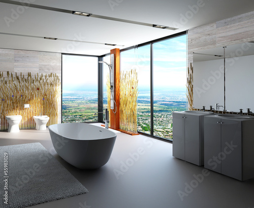 Awesome nature style bathroom interior with modern furniture