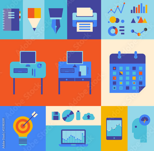 Modern business workflow illustration set