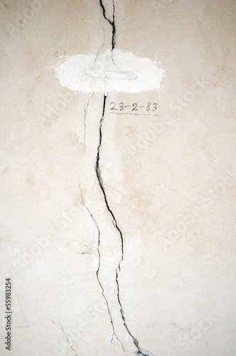 Two cracks in a wall and a date