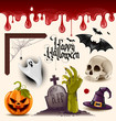 Set of halloween vector design elements - grouped and layered