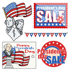 USA Nation - Patriotic Theme - Holiday Presidents Day Vector Set