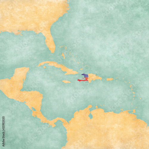 Map of Caribbean - Haiti (Vintage Series)