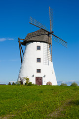 White windmill, selective focus