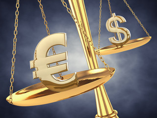 Dollar and euro signs on a brass scale , 3d illustration