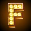 Old lamp alphabet for light board. Letter F