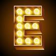 Old lamp alphabet for light board. Letter E