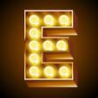 Old lamp alphabet for light board. Letter E