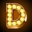 Old lamp alphabet for light board. Letter D