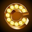 Old lamp alphabet for light board. Letter C