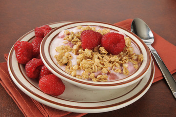 Greek yogurt with raspberries