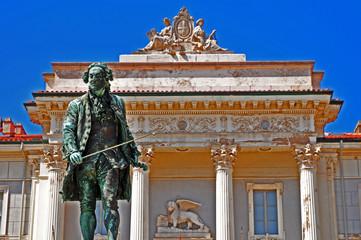Piran, Pirano, Slovenia - monumento a Tarini in Piazza Tarini
