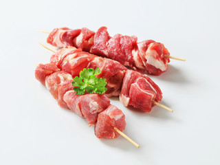 Raw pork skewers