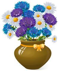 Bouquet of daisies and cornflowers in clay pot