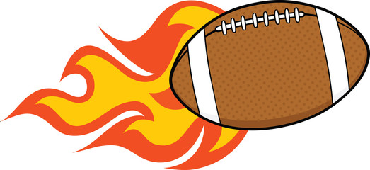 Flaming American Football Ball Cartoon Illustration