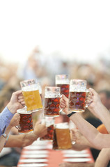 Oktoberfest beer drinkers raise glass