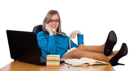 Flirtatious businesswoman